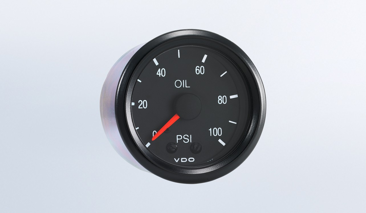 Cockpit 100 PSI Mechanical Oil Pressure Gauge with Tubing Kit and Metric Thread Adapters