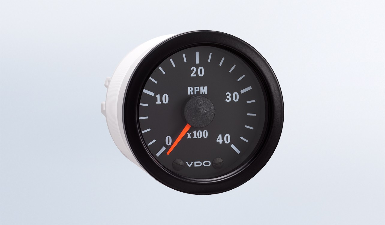Vision Black 4 000 Rpm 2 1 16 Tachometer 12v on warning lights