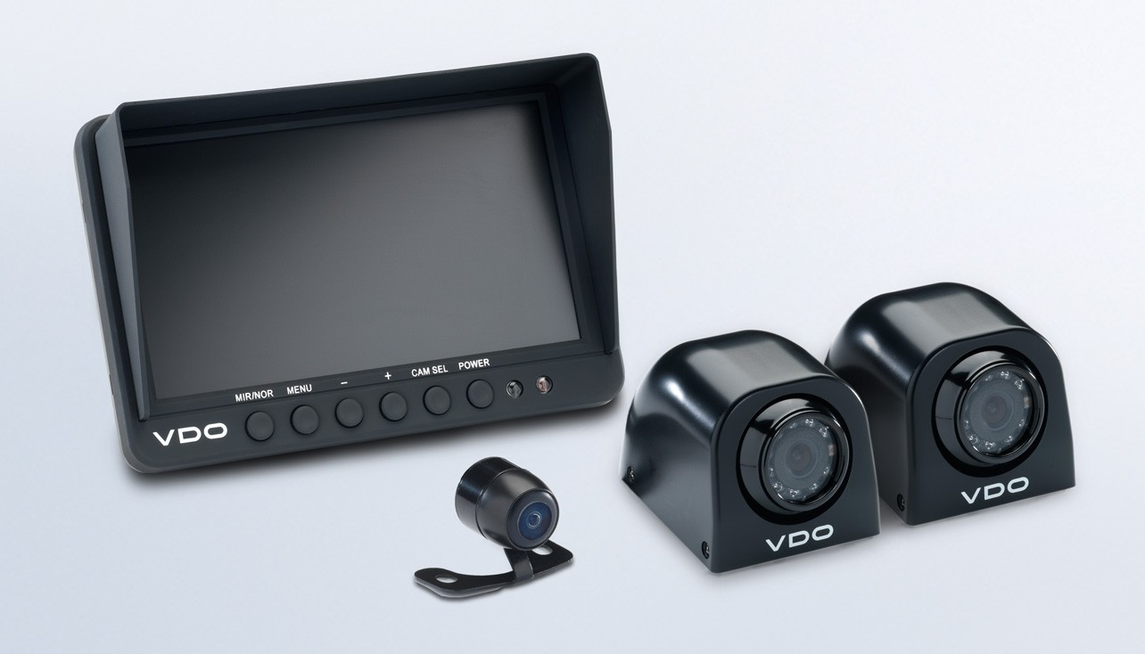 """Standard View Cameras 7"""" Quad Display with 2 Side Mount Cameras and 2 Small Rear View Cameras"""