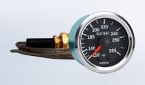 "Vision Chrome   265°F Mechanical Temperature Gauge with 72"" Capillary, 12V"