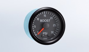 Cockpit 30 PSI Mechanical Boost Gauge with Tubing and US Thread Adapters