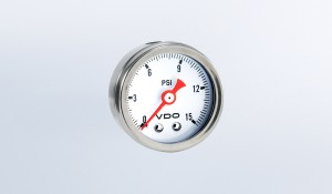 "Mini Pressure Gauges Direct Mount 15 PSI Mechanical Pressure Gauge, 1 1/2"" Diameter, White Dial"