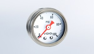 "Mini Pressure Gauges Direct Mount 100 PSI Mechanical Pressure Gauge, 1 1/2"" Diameter, White Dial"